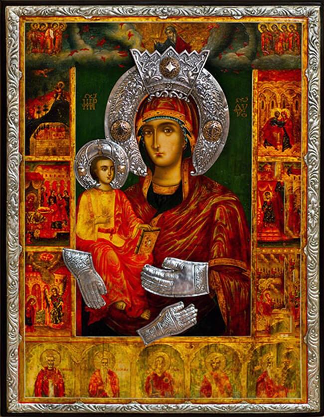 Чудотворната икона Света Богородица Троеручица, донесена в манастира от неизвестен атонски монах.